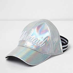 Girls silver 'Mermaid' iridescent cap