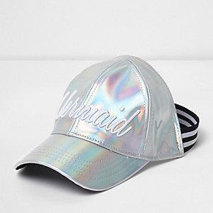 Girls silver 'Mermaid' iridescent cap