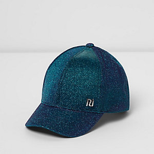 Mini girls blue glitter cap