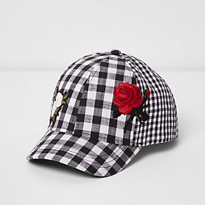 Mini girls black gingham floral appliqué cap