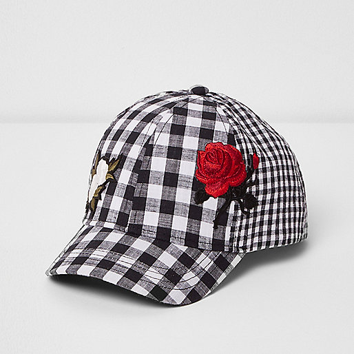 Mini girls black gingham floral appliqué cap