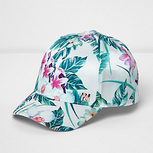 Mini girls white tropical print cap