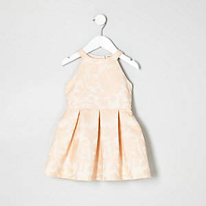 Mini girls pink jacquard prom dress