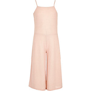 Girls light pink ribbed culotte jumpsuit