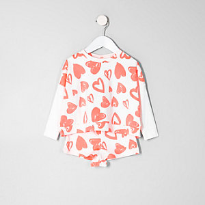 Mini Girls coral heart sweatshirt pajama set