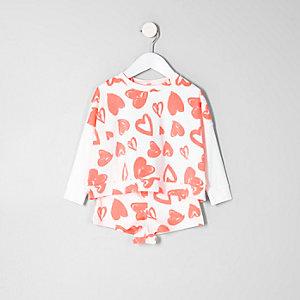Mini - Koraalrode pyjamaset met sweatshirt en hartenprint voor meisjes