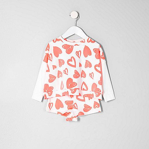 Mini Girls coral heart sweatshirt pyjama set