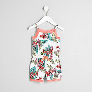 Mini girls white tropical print romper