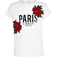 T-shirt imprimé Paris et fleurs à écussons blanc pour fille