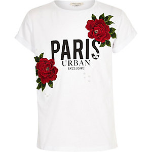 Girls white flower badge Paris T-shirt