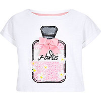 Girls white perfume bottle appliqué T-shirt