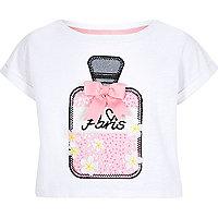 Girls white perfume bottle appliqué T-shirt