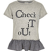 Girls grey marl peplum hem T-shirt