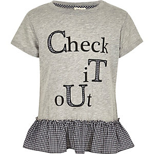 Girls grey marl peplum hem T-shirt