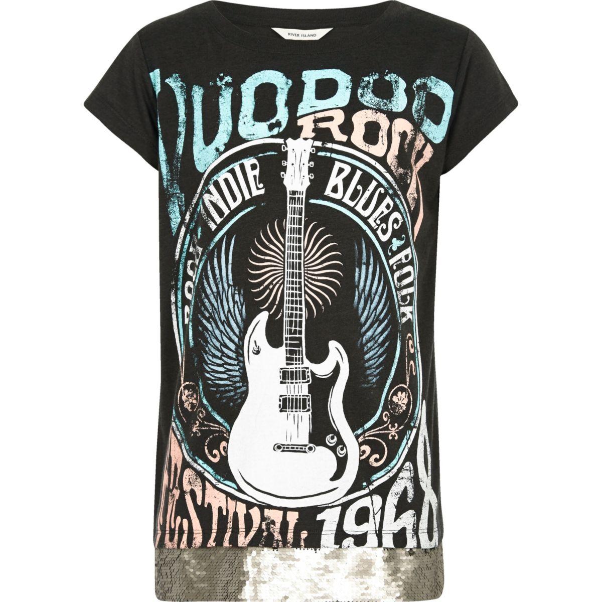 Girls black rock band sequin hem T-shirt
