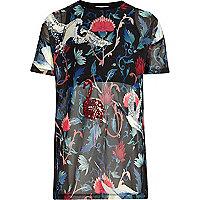 Girls blue bird embellished mesh T-shirt
