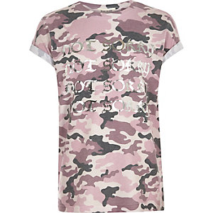 T-shirt Not Sorry camouflage rose pour fille