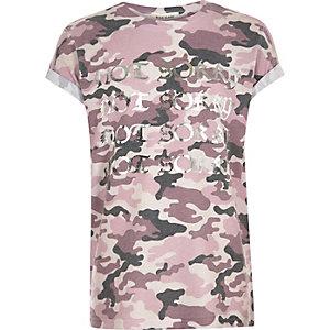 Roze T-shirt met not sorry- en camouflageprint voor meisjes