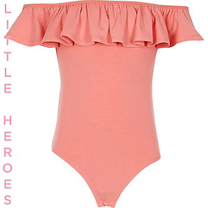 Girls coral bardot ruffle body suit