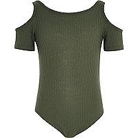Girls khaki green cold shoulder body suit