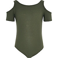 Body vert kaki à épaules dénudées pour fille