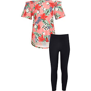 Girls pink floral bardot top and leggings set