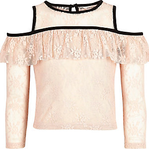 Girls pink lace cold shoulder top