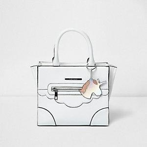 Witte handtas met eenhoorn en structuur voor meisjes