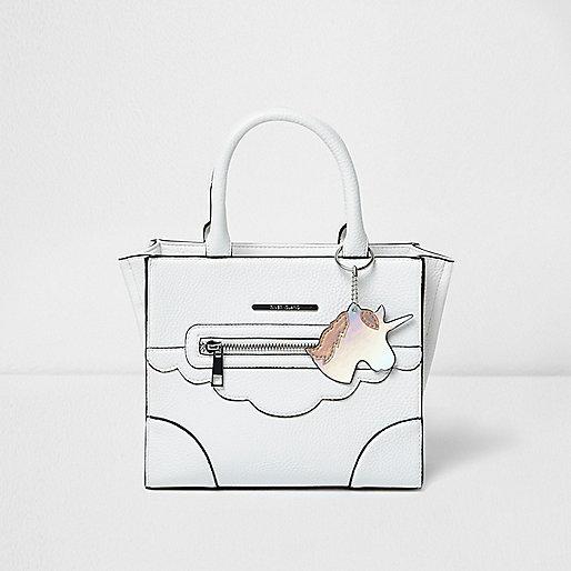 Girls white structured unicorn tote bag