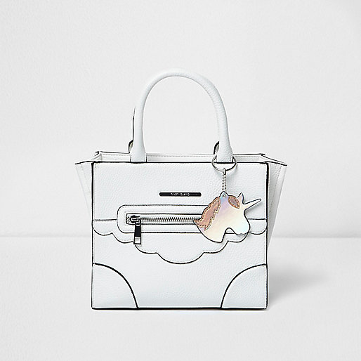 Girls white structured unicorn tote bag