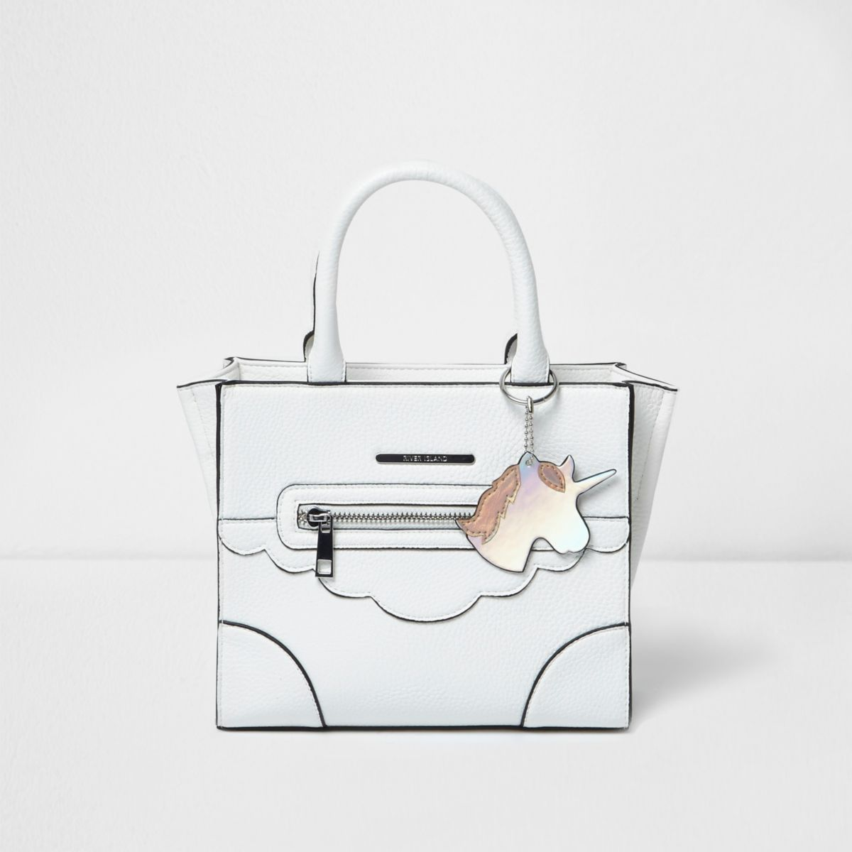 Cabas blanc structuré motif licorne pour fille
