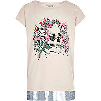 Girls cream skull sequin hem band T-shirt