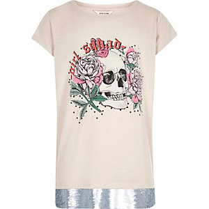 T-shirt crème motif tête de mort à sequins et ourlet à bande pour fille