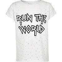 Girls white 'run the world' distress T-shirt