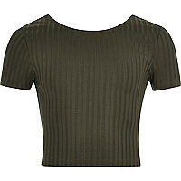 Girls khaki green scoop neck crop top