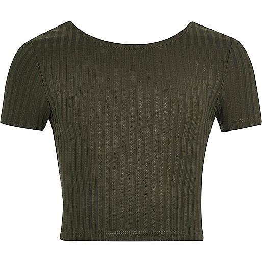 Girls khaki green scoop neck crop top