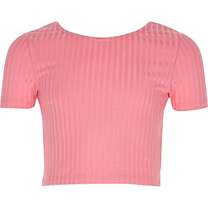 Girls pink scoop neck crop top