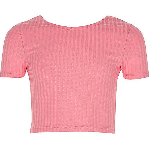 Girls pink scoop neck crop top