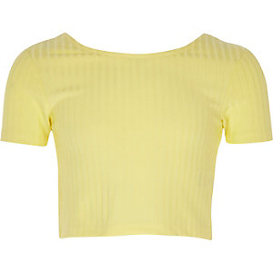 Girls yellow scoop neck crop top