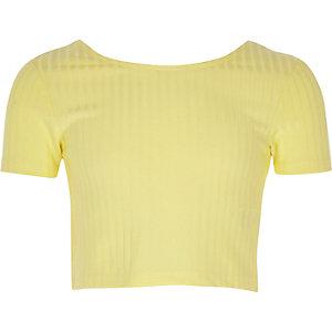 Gele crop top met lage hals voor meisjes