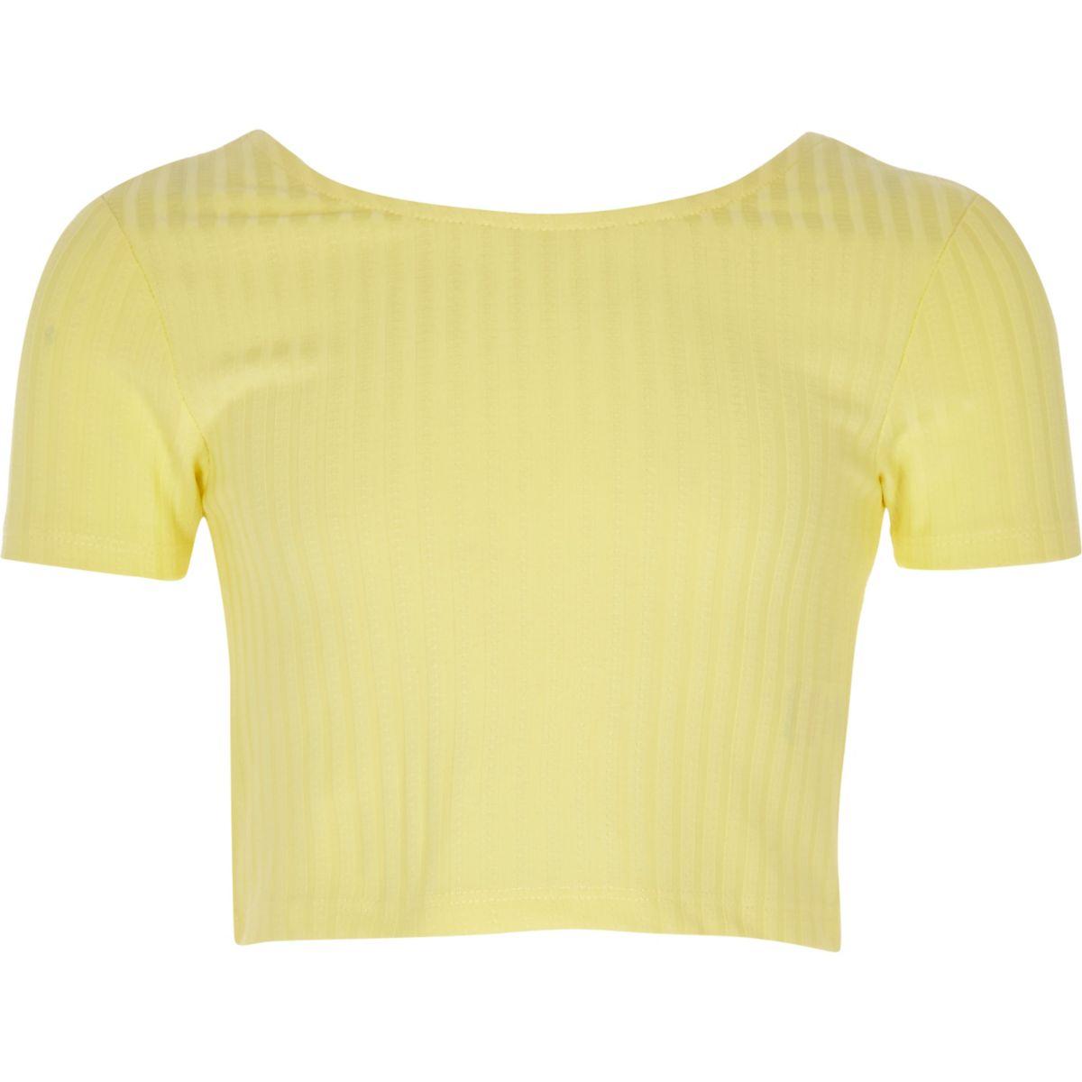 Girls yellow scoop neck crop top