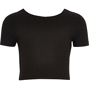 Girls black scoop neck crop top