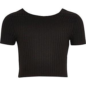 Zwarte crop top met lage hals voor meisjes