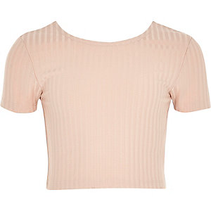 Roze crop top met lage hals voor meisjes