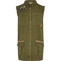 Girls khaki embroidered sleeveless shacket