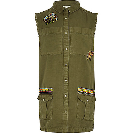 Girls khaki embroidered sleeveless shacket