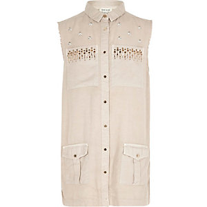 Girls nude embellished sleeveless shacket