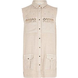 Veste-chemise chair ornée sans manches fille