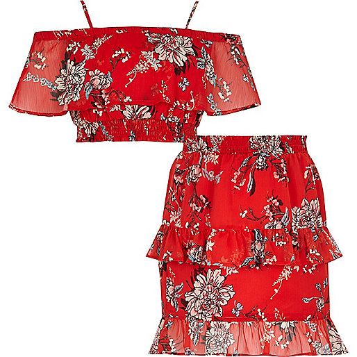 Girls red floral print bandeau top outfit