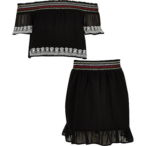 Girls black chiffon lace bardot top outfit